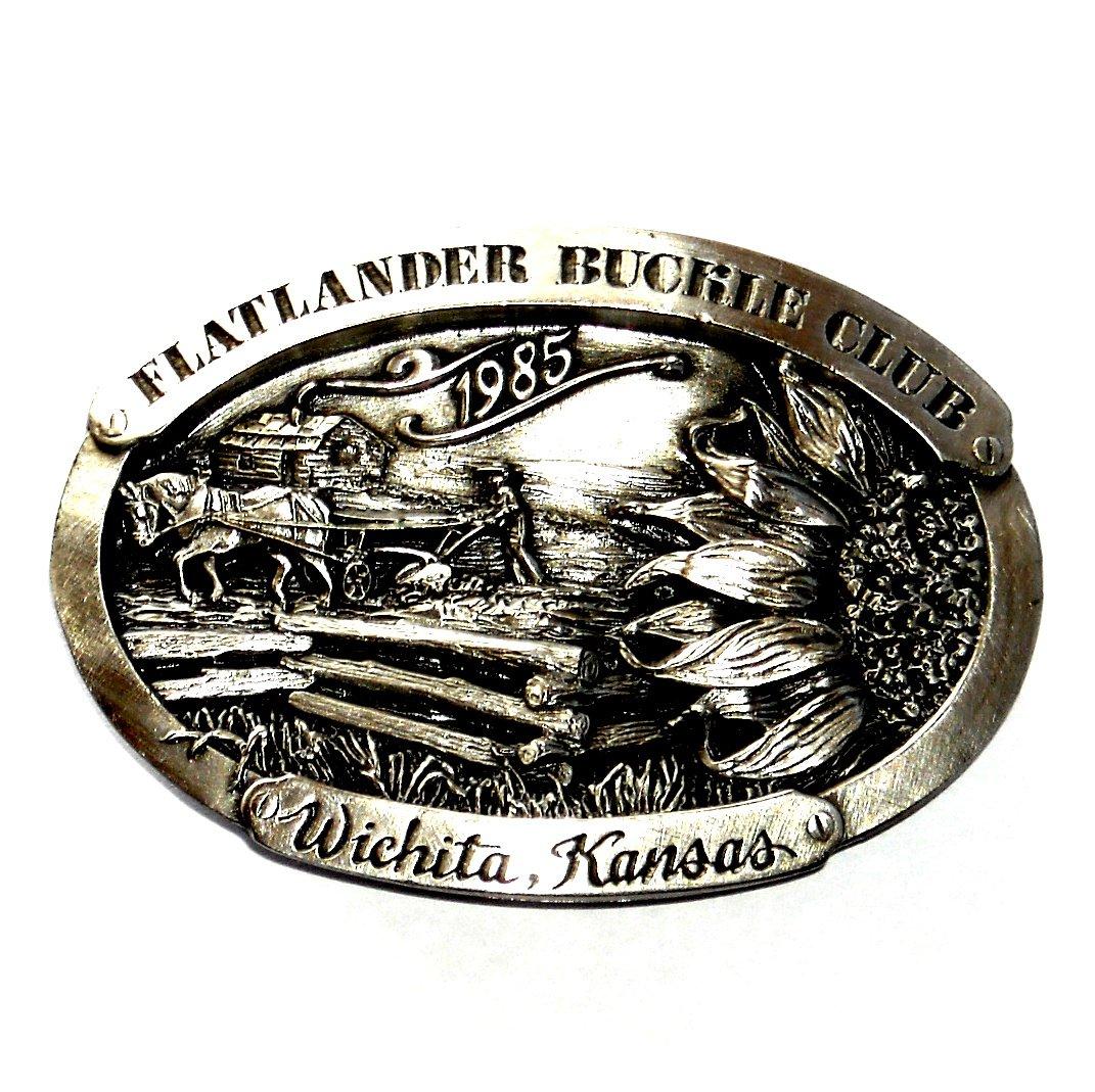 Wichita Kansas Flatlander Club 1985 Bergamot Pewter Belt Buckle