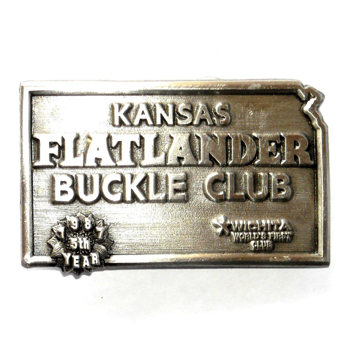 Kansas State Flatlander Club 1987 Siskiyou Pewter Belt Buckle