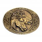 Wild Horses Trophy Vintage Indiana Metal Craft Brass Western Belt Buckle