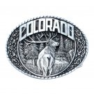 Colorado State Bull Elk Indiana Metal Craft Pewter Classic Western Belt Buckle