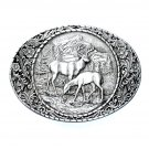 American Wildlife Elk Indiana Metal Craft Solid Pewter Classic Belt Buckle