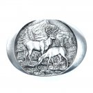 Elk Indiana Metal Craft Solid Pewter Classic Belt Buckle
