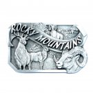 Rocky Mountains Trophy Wildlife Pewter Classic Belt Buckle