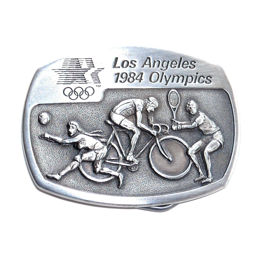 Tennis Volleyball Los Angeles 1984 Olympics Sanchez Pewter Belt Buckle