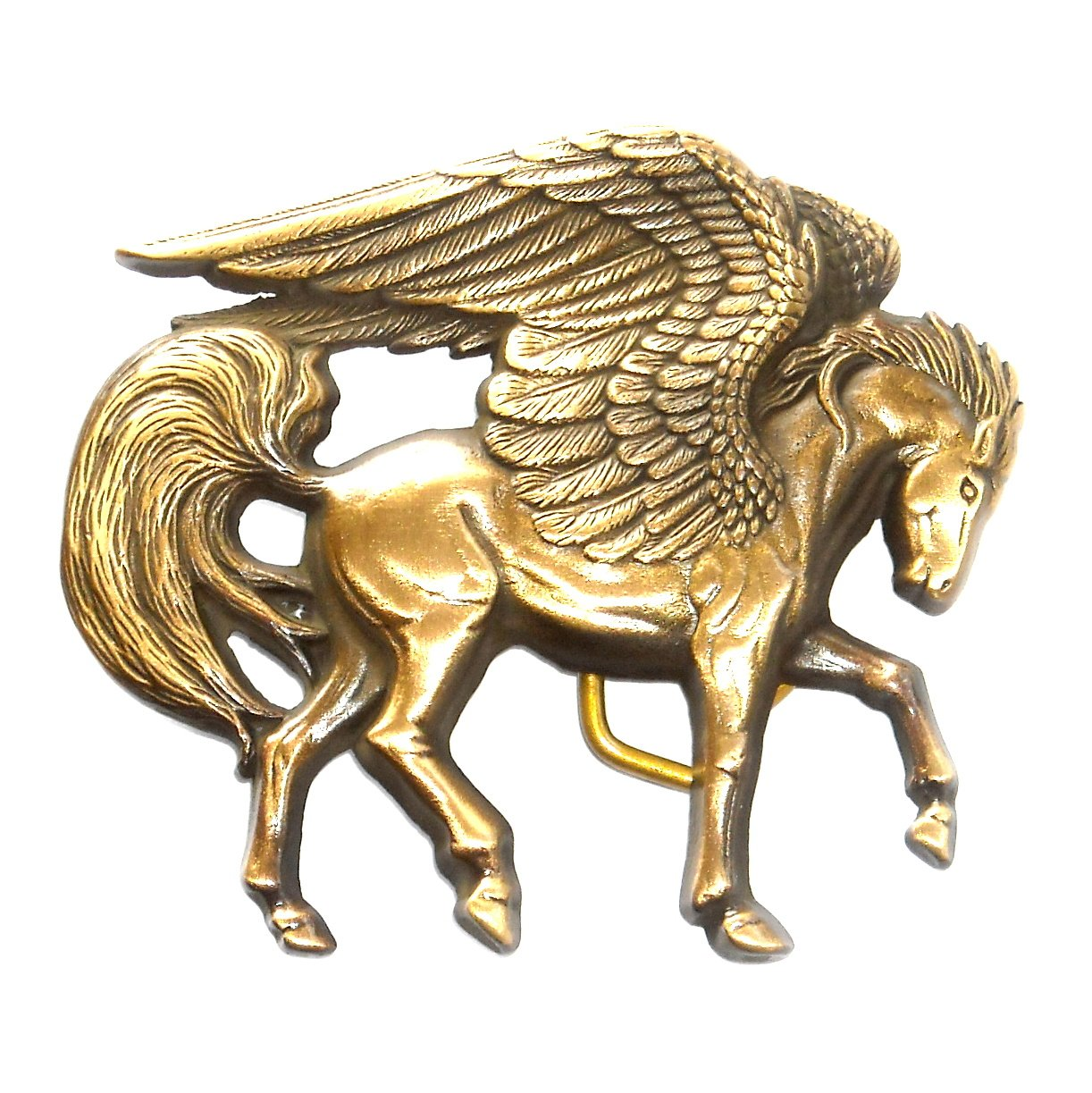 Pegasus Flying Winged Horse 3D Baron Solid Brass NOS Belt Buckle