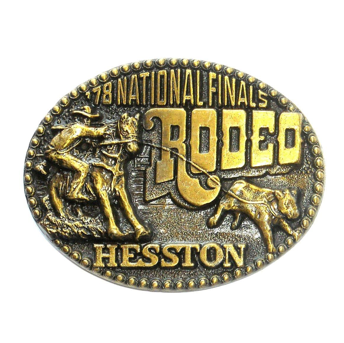 Hesston 1978 National Finals Rodeo 3D Brass Belt Buckle