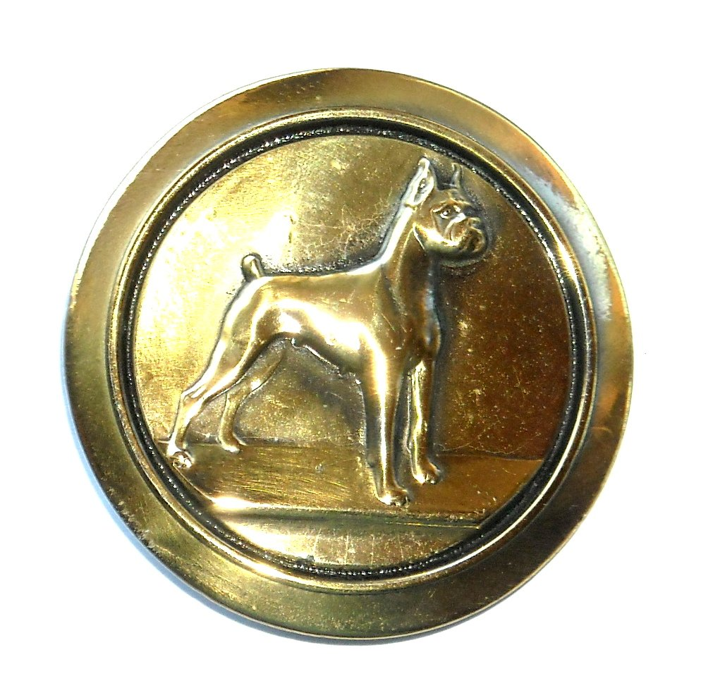 German Boxer Dog Great American Brass Color NOS Round Belt Buckle