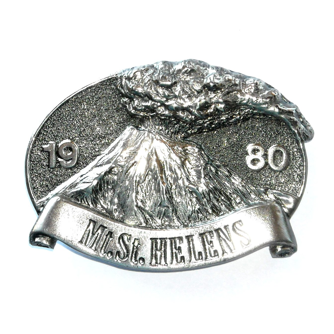 Washington Mt Saint Helens Vintage Great American Pewter Silver Color Belt Buckle