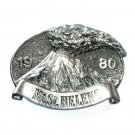 Washington Mt Saint Helens Vintage Great American Pewter Silver Color NOS Belt Buckle