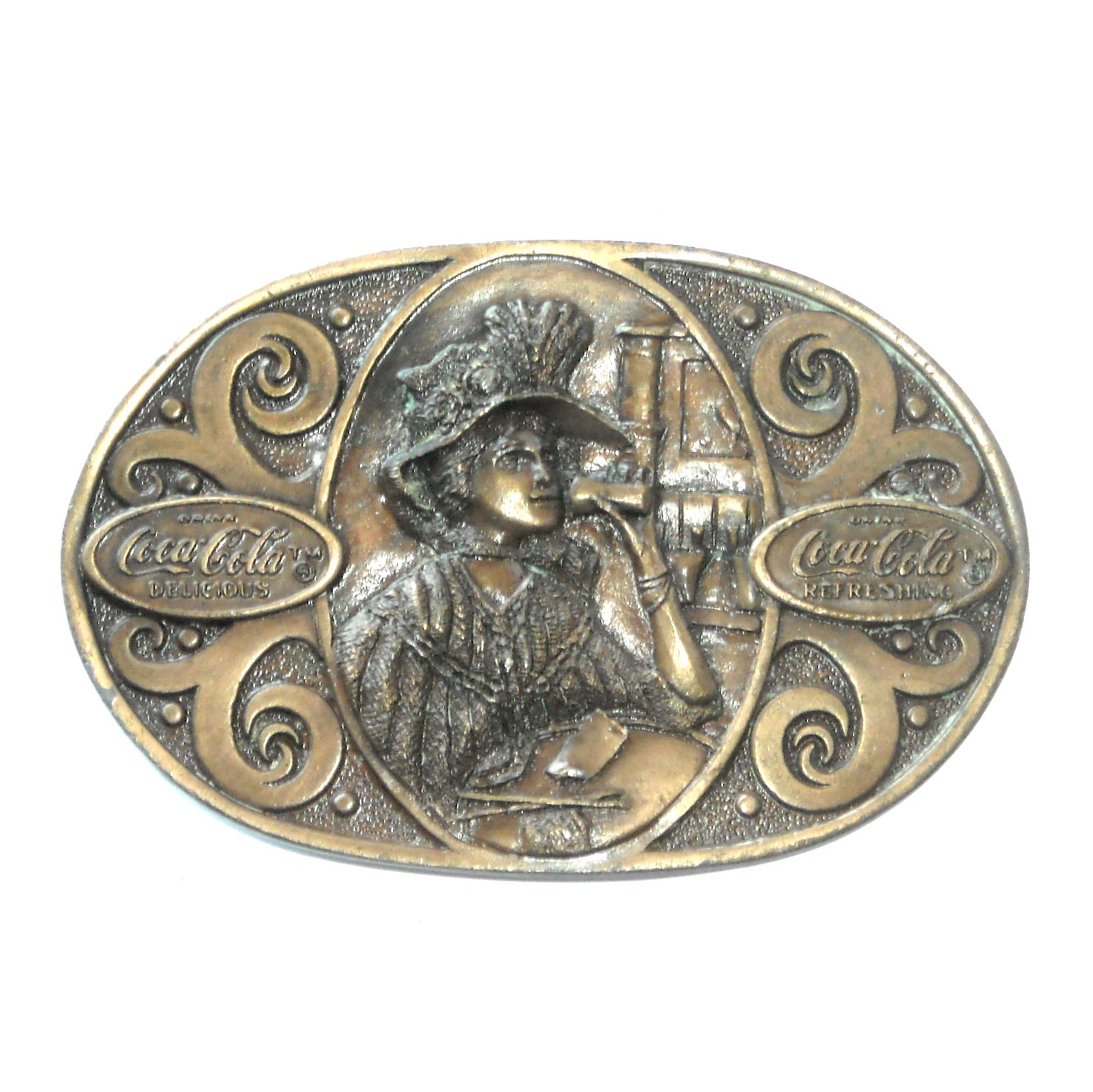 Coca Cola Vintage Bergamot Pewter Brass Color Belt Buckle