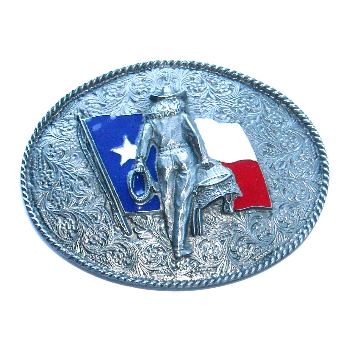 Cowgirl Texas Flag Color Bergamot 3D Pewter Belt Buckle