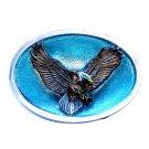 Flying Eagle 3D Bird Color Bergamot Oval Western Belt Buckle