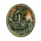 Paradise Tropical Palm Island Beach Indiana Metal Craft NOS Belt Buckle