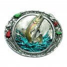 Rainbow Trout 3D Color Bergamot Pewter Belt Buckle