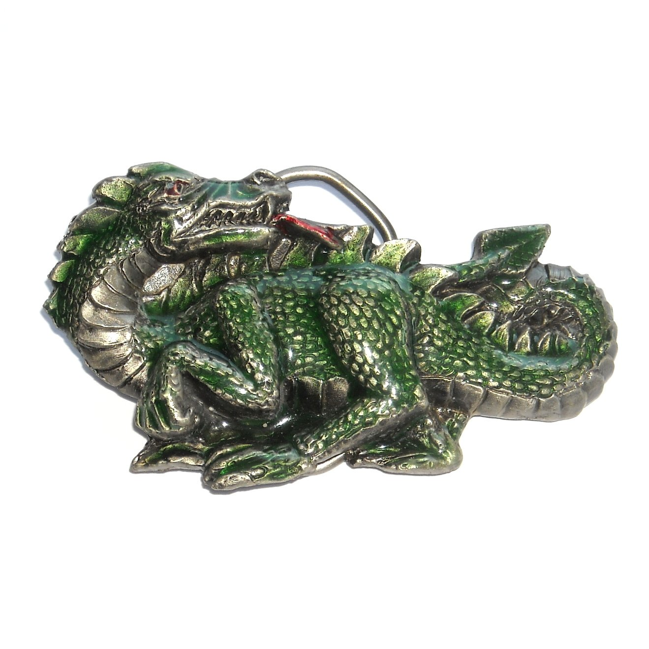Green Dragon 3D Vintage Great American US Pewter Belt Buckle