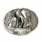 Mason Brick Layer 3D C J Pewter Belt Buckle