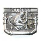 Plumber Vintage C J Pewter NOS Belt Buckle