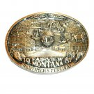 Lions Club Montana 1987 Award Design Brass Belt Buckle