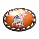 GOP Republican Elephant Tony Lama Leather Belt Buckle