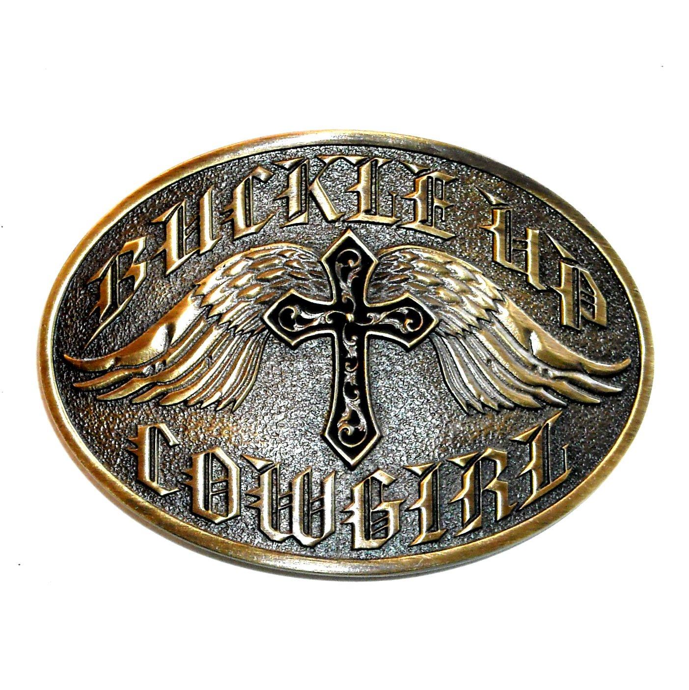 Cowgirl Buckle Up Cross Angel Wings Montana Silversmiths Belt Buckle