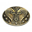 Cross Angel Wings Montana Silversmiths Western Attitude Belt Buckle