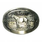 Thoroughbred Horse Tony Lama Breeder Series Brass Belt Buckle