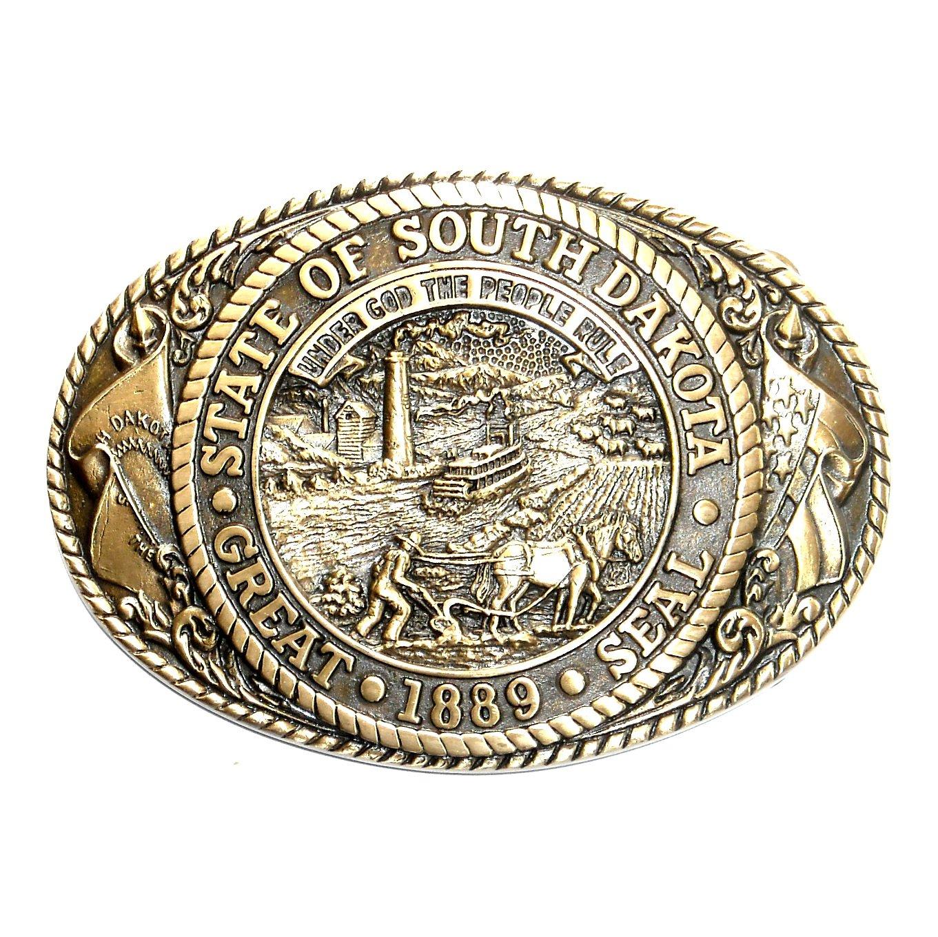 South Dakota State Seal Tony Lama Solid Brass Belt Buckle