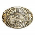 South Dakota State Seal Tony Lama Solid Brass Belt Buckle