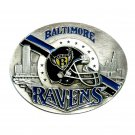 Baltimore Ravens Blue Black Siskiyou Solid Pewter Belt Buckle
