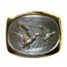 Mallards Ducks Steven Knight Vintage BTS Solid Bronze Belt Buckle