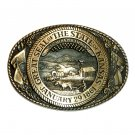 Kansas State Seal Solid Brass Tony Lama Belt Buckle