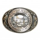 Kansas State Seal Tony Lama Solid Brass Belt Buckle