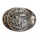 Tony Lama Iowa State Seal Solid Brass Belt Buckle