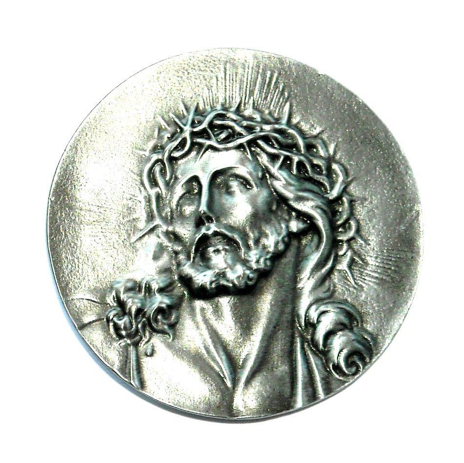 Jesus Bergamot Round Pewter Belt Buckle
