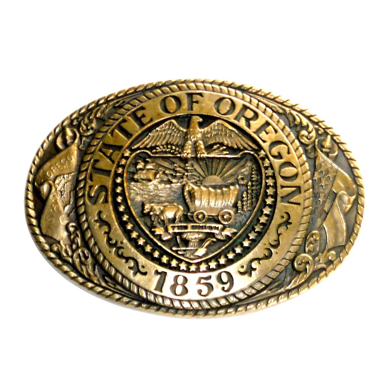 Oregon State Seal Tony Lama Brass Belt Buckle