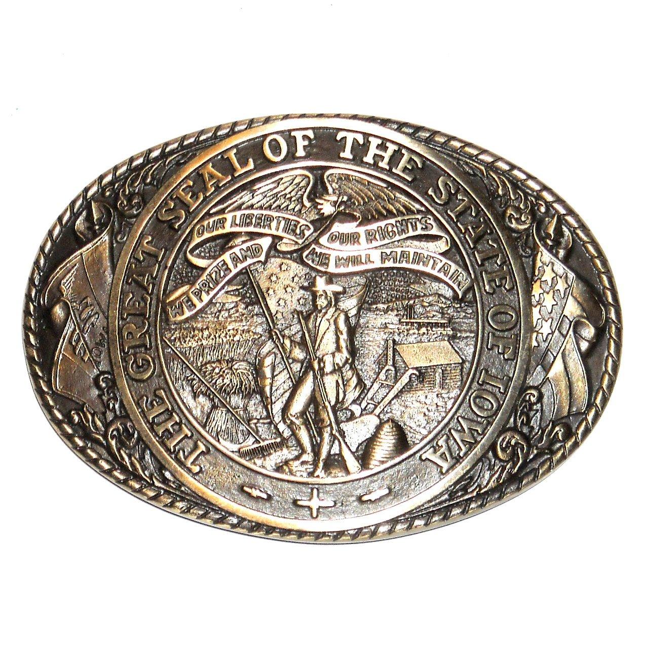 Iowa State Seal Tony Lama Brass Belt Buckle