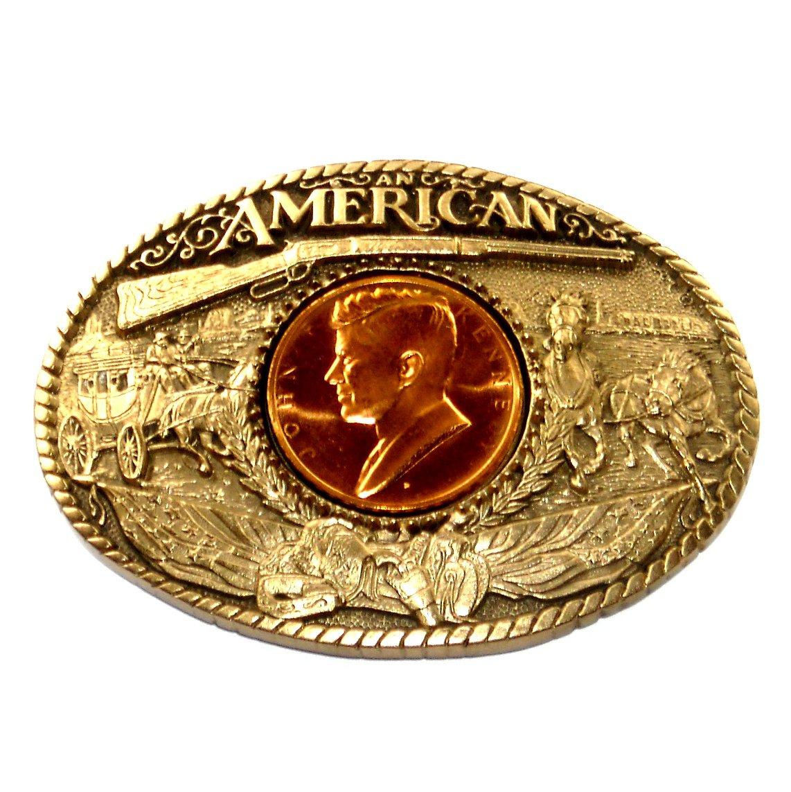 Great American John F Kennedy Award Design Brass Belt Buckle
