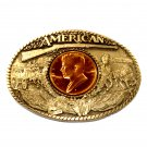 Great American John F Kennedy Award Design Brass Belt Buckle