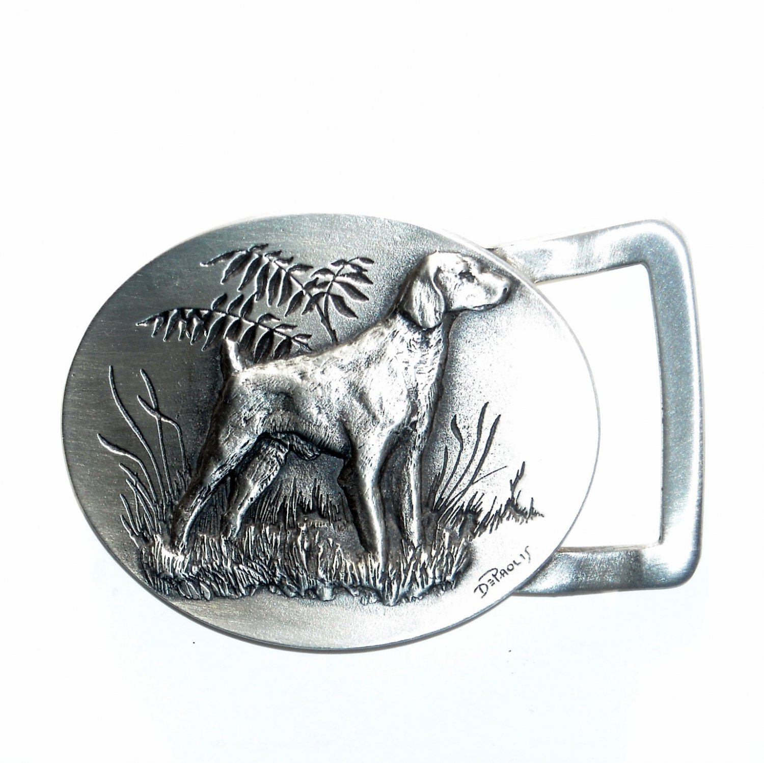 Setter Hunting Dog 3D Old Forge Metals Handcrafted Solid Pewter Belt Buckle