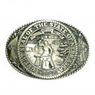 Nebraska State Seal Tony Lama Brass Belt Buckle