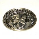 Early Days Kansas State Fair 1989 Award Design Solid Brass Belt Buckle