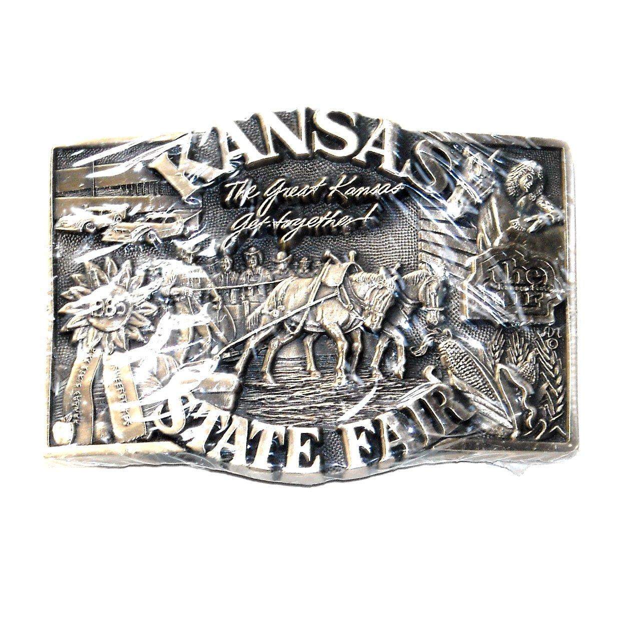 Kansas State Fair 1985 Award Design Solid Brass Belt Buckle
