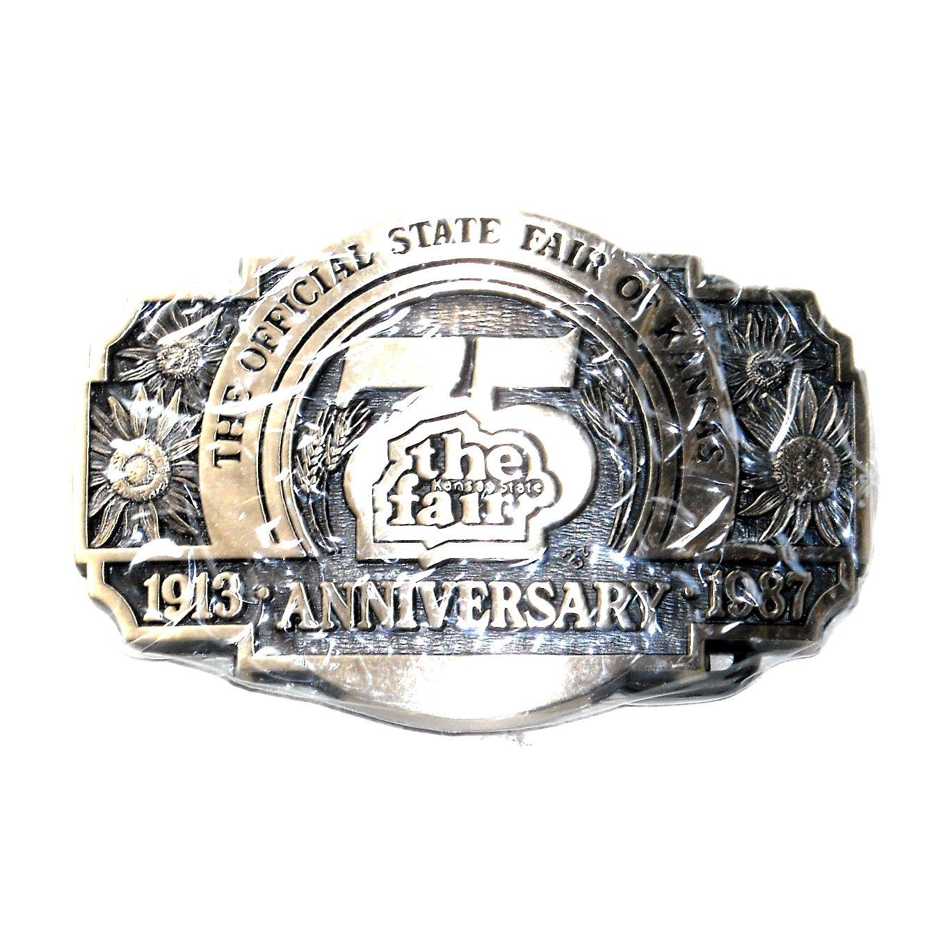 Kansas 75 Anniversary State Fair 1987 Award Design Solid Brass Belt Buckle