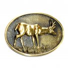 Mule Deer 3D Vintage BTS Solid Brass Belt Buckle