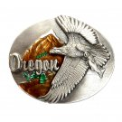Oregon Bald Eagle 3D Siskiyou Pewter Western Belt Buckle