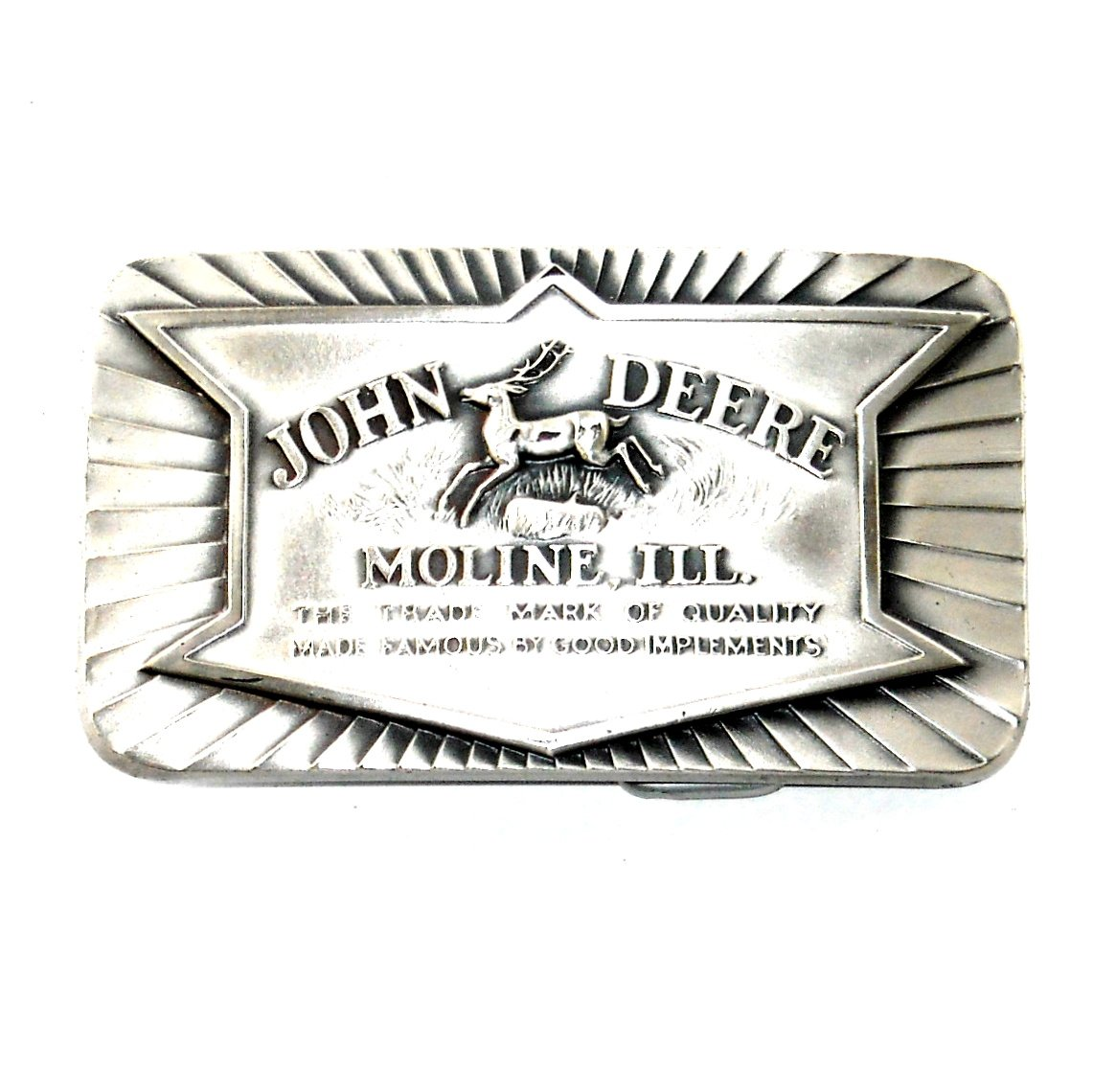 John Deere Historical Trademark 1984 Pewter Belt Buckle