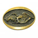 United We Stand American Eagle Solid Brass Vintage Belt Buckle