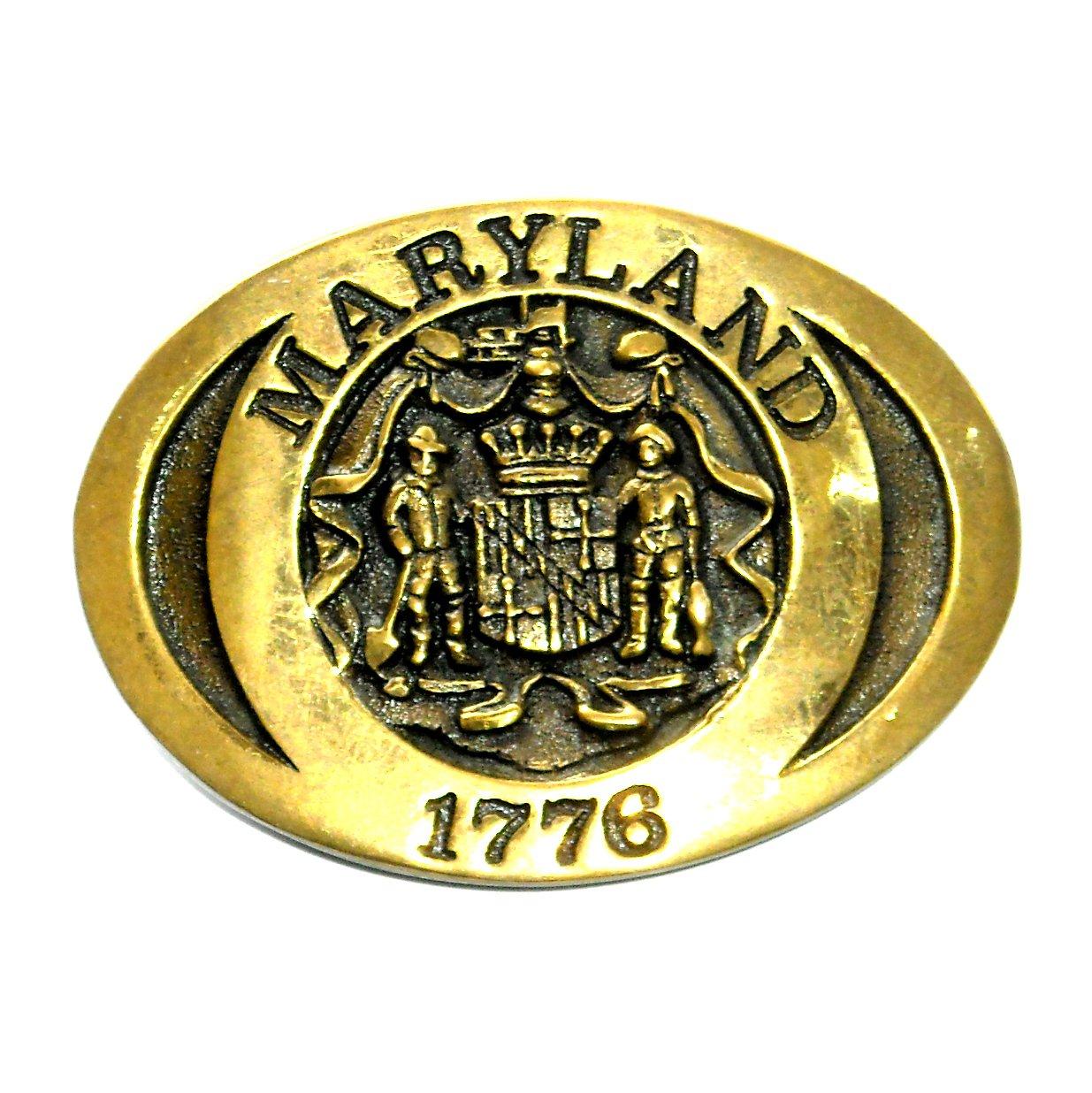 Maryland State Seal Heritage Solid Brass Vintage Belt Buckle