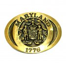 Maryland State Seal Heritage Solid Brass Vintage Belt Buckle