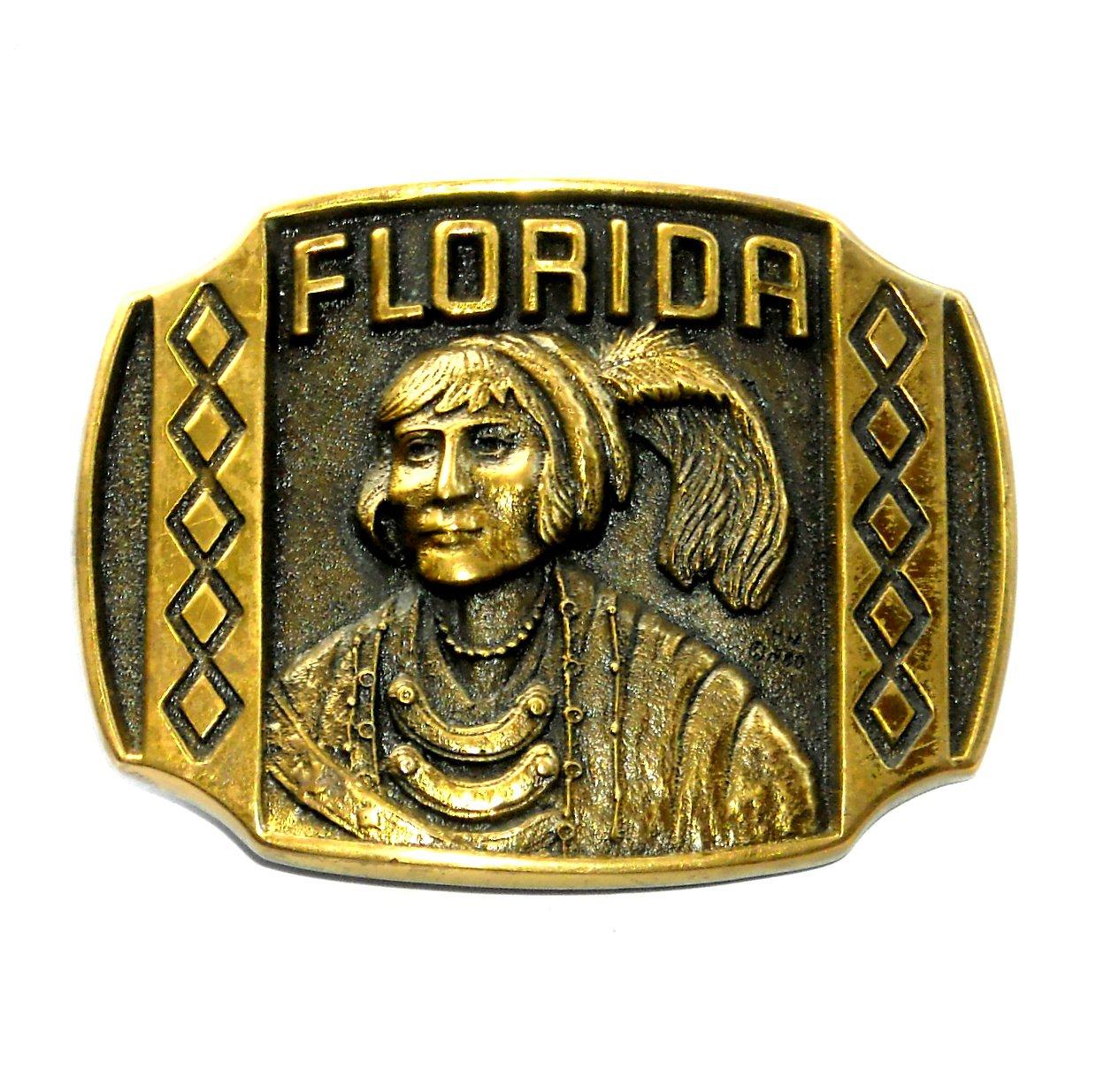 Florida Heritage Solid Brass Vintage Belt Buckle